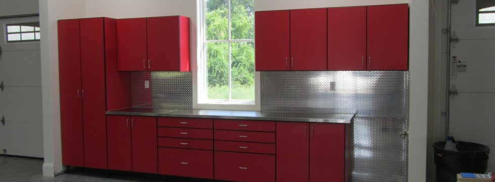 Red Cabinets with Stainless Steel Top