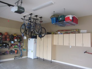 overhead bicycle and cooler storage systems