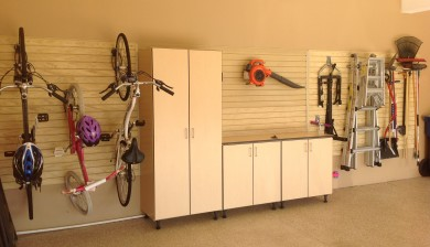 maple garage cabinets with work space