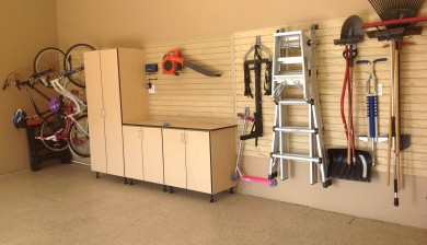 maple garage cabinets and slatwall