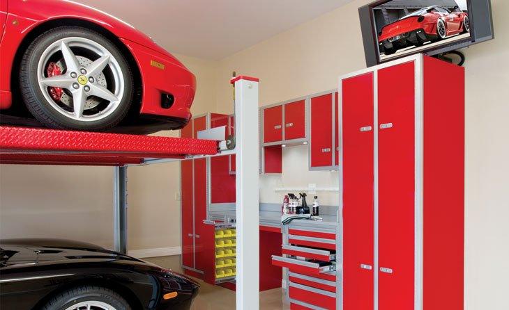 Garage designs adds aluminum garage cabinets for Garage designs com