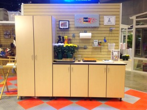 one tall and two base garage cabinets in maple