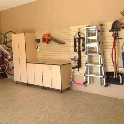 Well Organize Garage and tools hanging on the wall