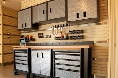 organized tools and cabinets