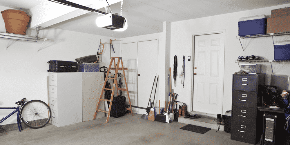 An organized home garage after a family reclaimed the space from clutter and junk