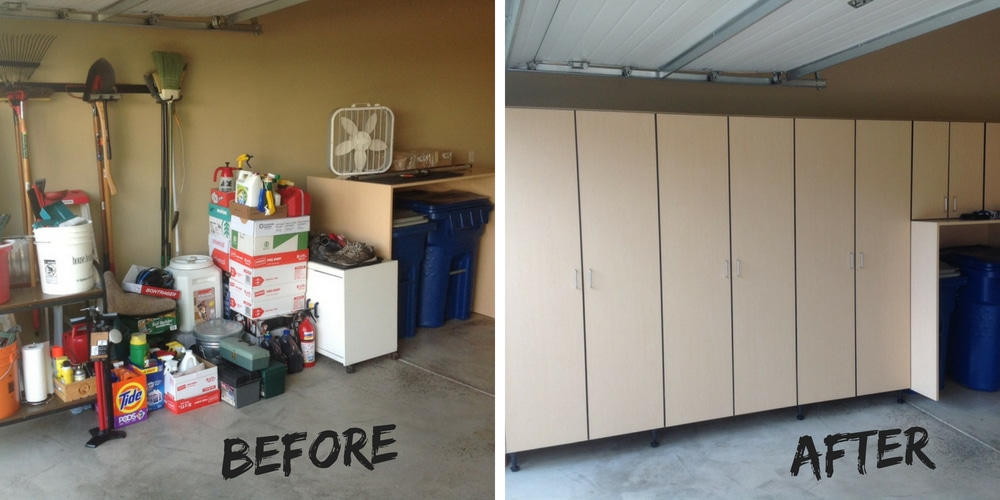 Before and after the installation of garage cabinets by Garage Designs of St.Louis