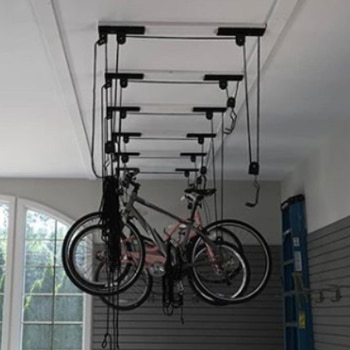 Bike storage hanging from the ceiling