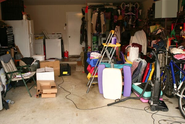 messy garage with junk everywhere